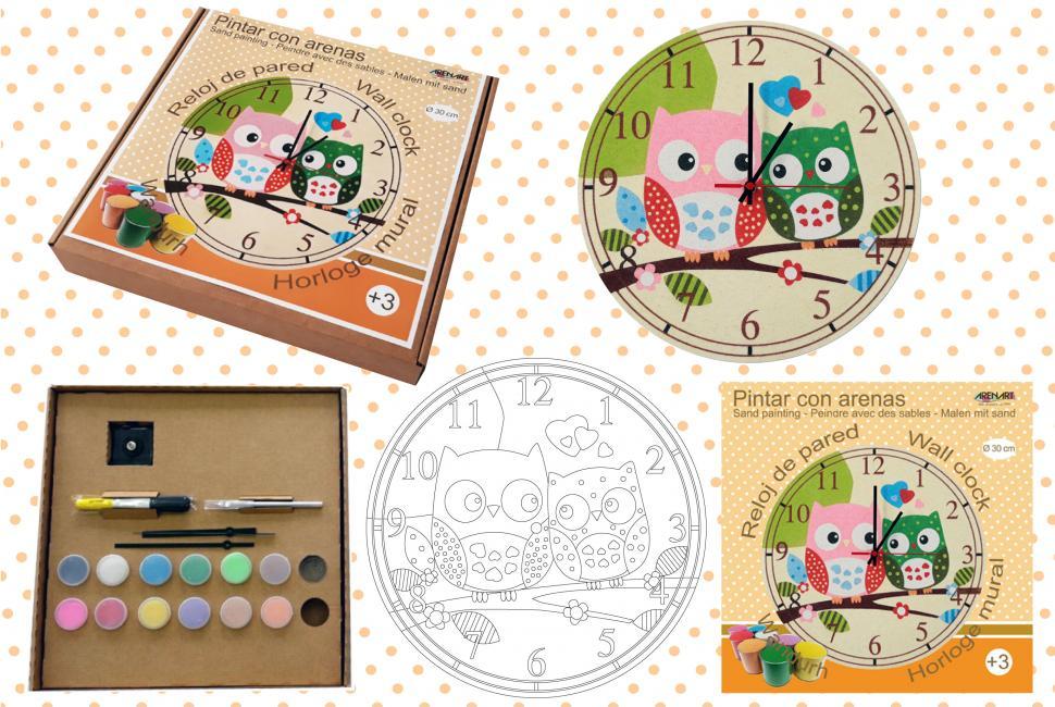 9c6d22c5d934 Iniciate en la técnica de pintar con arenas decorando un precioso reloj de  pared de Ø 30 cm.