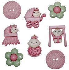 Set 8 botones bebes rosa