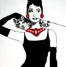 Audrey y el gato 50x61 cm