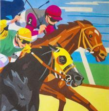 Carrera de caballos. 50x61 cm