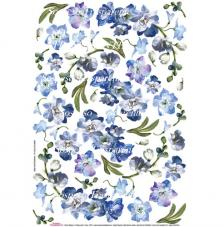 Papel decoupage flor azul 35x50 cm