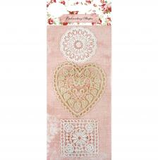 3 encajes ganchillo corazon y ornamentos