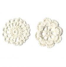 6 adorno ganchillo flores blanco 4,5 cm