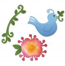 Troquel Sizzlits Sizzix. Conjunto de pájaro y vid flor.