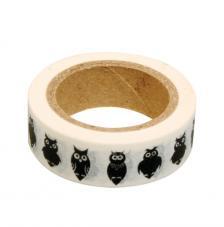 Washi Tape buhos negros 15mm rollo 15m