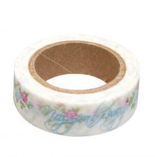 Washi Tape rosas 15mm rollo 15m
