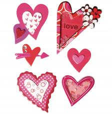 6 Deco stickers  Corazones