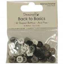 60 botons blanc, negre i gris. Back to Basics