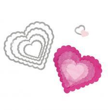 Troquel Framelit Sizzix. 5 corazones festoneados