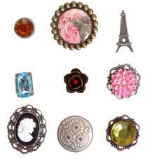 9 brads metal y resina. Vintage rosa
