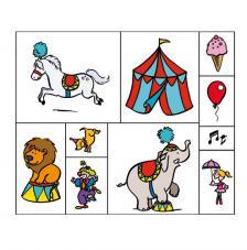 10 sellos madera, lápices y tintas. Circo