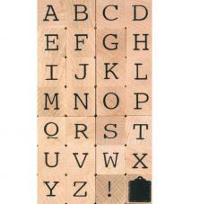 28 sellos madera alfabeto mayúscula. 2x2 cm