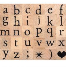30 sellos madera alfabeto minúscula. 1x1 cm