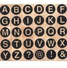 30 sellos madera alfabeto mayúscula. 1x1 cm