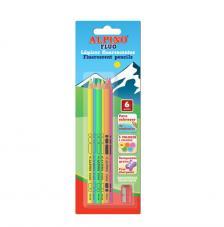 Blister 6 lápices colores fluo y sacapuntas.