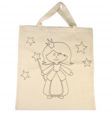 Bolsa de algodón beig princesa 38x42 cm