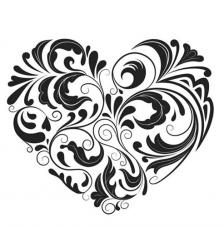 Rubber Stamp A7 Heart Flourish Dinkie