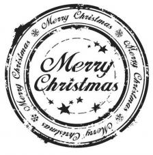 Rubber Stamp A7 Merry Christmas Circle Dinkie