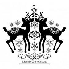 Sello de caucho A6 Feliz navidad de ciervos
