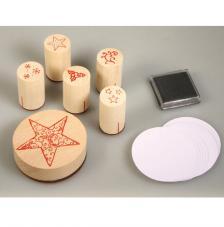 Kit sellos madera, tinta y tags estrellas