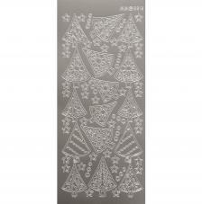 Sticker navidad plata abetos 10x23 cm