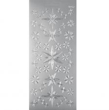 Sticker navidad plata estrellas 10x23 cm
