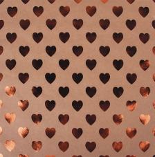 Paper Kraft 30,5x30,5cm. Corazones cobre
