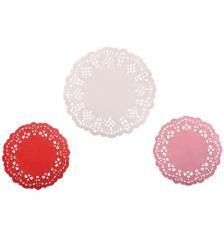 60 papeles troquelados circulos. Blanco, rosa y rojo