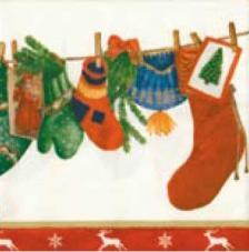 20 servilletas. Calcetines navidad
