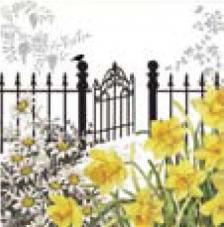20 servilletas. Jardín con verja