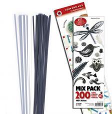 200 tiras de papel quilling 45 cm x 3 mm. Blanco, gris y negro