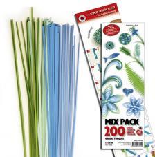 200 tiras de papel quilling 45 cm x 3 mm. Verdes y turquesas