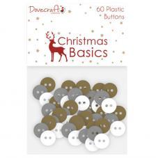 60 botones plástico. Christmas Basics