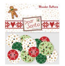 16 botones madera. Dear Santa