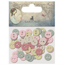 60 botones plástico. Santoro Mirabelle 3
