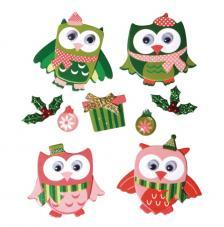 Deco stickers Búhos Navidad