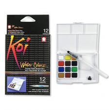 Caja plástico 12 pastillas acuarela + 1 pincel + 2 esponjas Koi Sakura