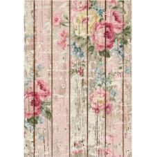 Papel Arroz Rosas en Madera 30x41 cm