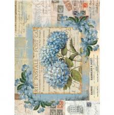 Papel Arroz Hortensia Azul 30x41 cm