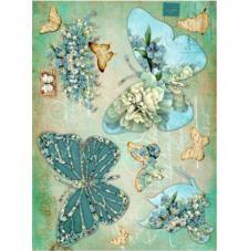 Papel Arroz Mariposas Azules 30x41 cm