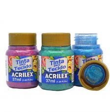 Pintura Textil GLITER Acrilex 37 ml. 11 colores