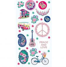Set figuras adhesivas Peace and Love 3D.