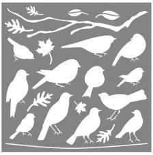 Stencil 30,5x30,5 cm. Pájaros