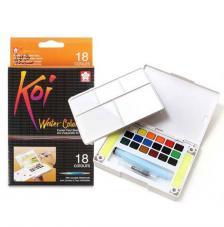 Caja plástico 18 pastillas acuarela + 1 pincel + 2 esponjas Koi Sakura