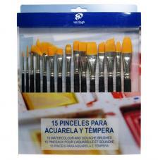 Set 15 pinceles para Acuarela y témpera. Poliéster y mango corto