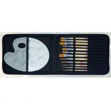 Tac organizador 12 pinceles Acuarela y paleta plástico. Sintético y mango corto