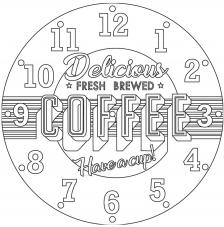RELOJ Coffee. 2 medidas disponibles Ø 38 y Ø 70 cm