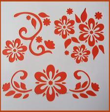 Stencil Flores 12 20x20 cm