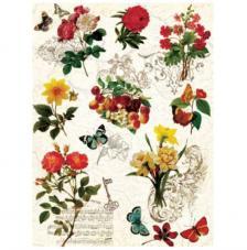 Papel Arroz Flores y mariposas 30x41 cm