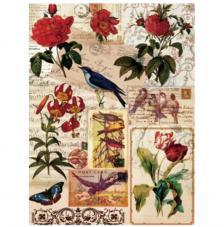 Papel Arroz Flores y pájaros 30x41 cm
